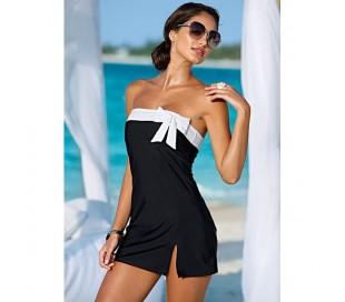 Vestido mujer mod. Tres chic vestido negro con franja y lazo blanco