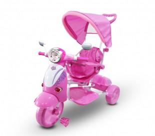 LT 854 Triciclo con pedales para bebés con lector MP3 en capota varios colores