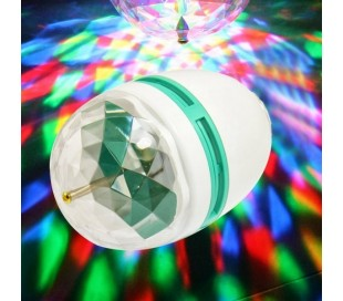 Rgb led bombilla de lámpara 3w e27 giratoria juego multicolor disco light