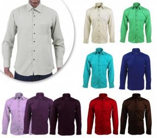 Camisa de algodón para hombres monocolor JUSTIN con cuello clásico 2 botones