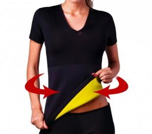 Camiseta de neopreno efecto sauna adelgaza brazos y abdomen mujeres tallas S-XXL
