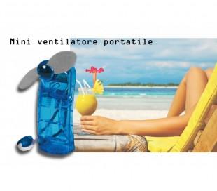 Mini ventilador portátil a pilas con 2 palas práctico y de bolsillo color azul