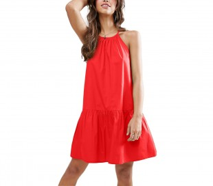 3911 Vestido corto de tela suave para mujer tirantes ajustables varios colores