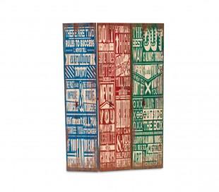 05979 Biombo de madera modelo Vintage 120 x 180 cm con tres paneles