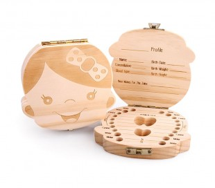 4221 Cajita de madera para guardar los dientes de leche para niña o niño