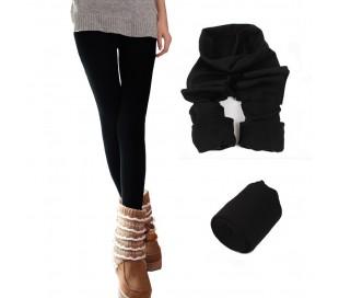 Pack  a elegir de 3-5-10 leggings de mujer en color negro y con felpa por dentro