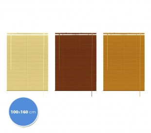 032059 Persiana veneciana para interior 100 x 160 cm de aluminio  efecto madera