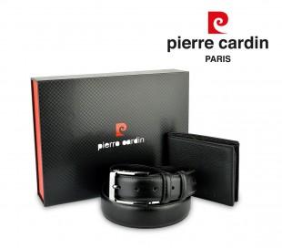 8806 LUKAS03 Set cinturón y cartera de cuero genuino para hombre ideal regalo