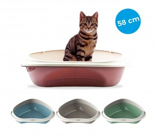 10536 Arenero para gatos 58 cm SHUTTLE ANGOLARE con los bordes en relieve