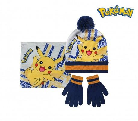 22-2544 Pack 3pz completo de invierno motivo POKEMÓN Gorro guantes y bufanda