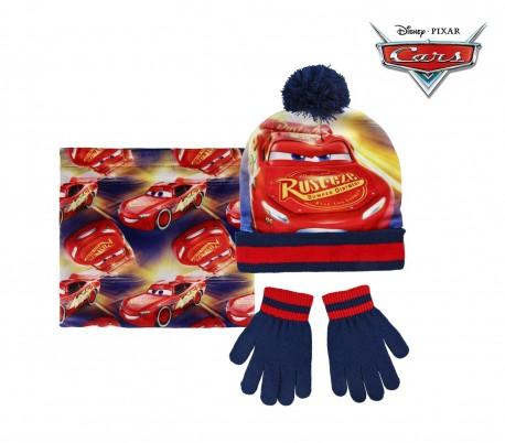 066e86d2263 22-254 Pack 3pz completo para invierno motivo CARS Gorro guantes y bufanda