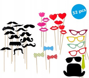 106058 Pack 32 pz de accesorios para fotos originales PHOTO PROPS labios bigote