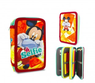 MK16111 Set para la escuela Mickey Mouse Selfie mochila y estuche de 3 pisos
