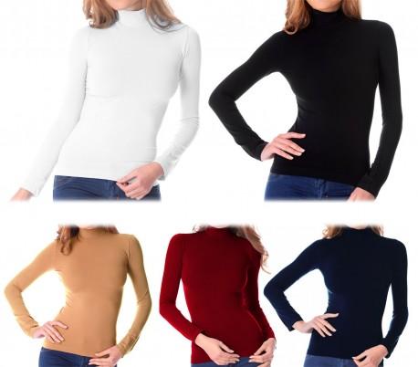 VKA21 Pack 5 jerséis térmicos de cuello alto con interior de felpa modelo Nadia