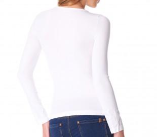 VKA25 Camiseta térmica para mujer interior de felpa cuello en forma V slim fit
