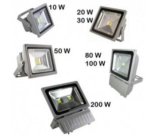 Foco LED de alta luminosidad luz FRIA 6500k para exteriores IP 65 en varios WATT