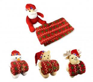 575020 Conjunto de peluche y manta escocesa motivo navideño 91 x 81 cm