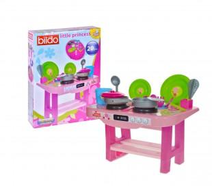 020067 Cocina de juguete motivo Princesas muy completa con 20 accesorios