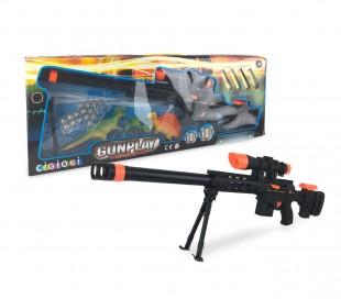 395035 Pistola de juguete GUN PLAY CIGIOKI con balas y objetivo incluidos