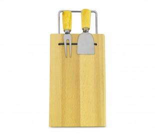 689378 Tabla de cortar queso madera betulla con tenedor y espátula 33 x 15 cm