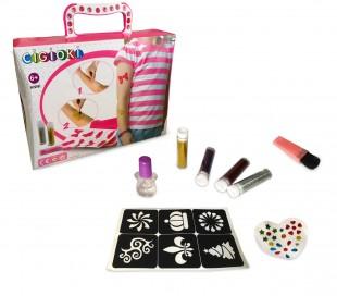 341049 Kit brillo tatuaje CIGIOKI para niños plantillas de colores y purpurina