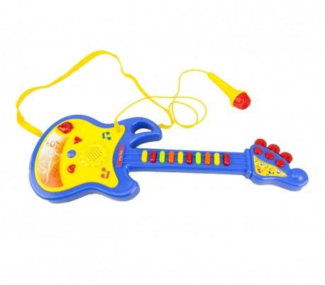104008 Guitarra de juguete BABY ROCK con micrófono con luces y sonidos