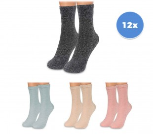 214679 Pack de 12 pares de calcetines para mujer mod. SPARKLY talla única