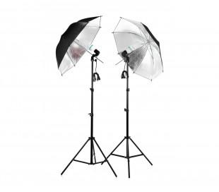 Kit 2 paraguas reflectantes fotográficos 85 cm 4493 con lámparas de 135 vatios