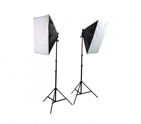 4499 Set softbox photography dos stand con 10 lámparas de 45 vatios y gabinete