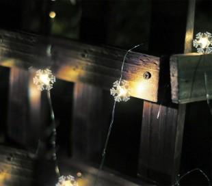 561086 Serie de 50 LED LUCES DE NAVIDAD para INTERIOR forma de copo de nieve