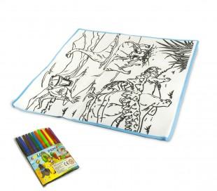 121769 Alfombra para jugar y colorear DINOSAURI lavable 50x50cm colores inluidos
