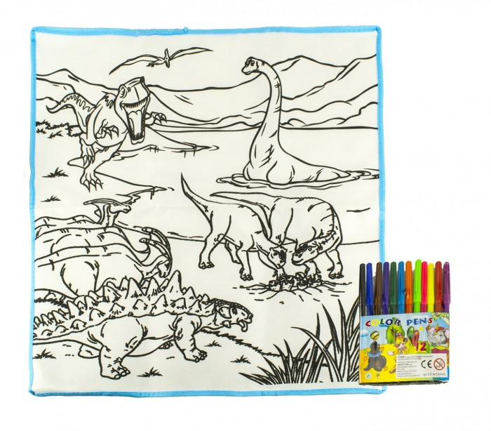 121769 Alfombra Para Jugar Y Colorear Dinosauri Lavable 50x50cm Colore