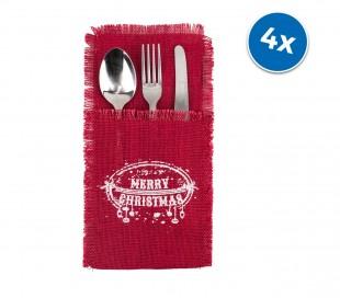 567193 Pack 4 porta cubiertos MERRY CHRISTMAS material yute en color rojo