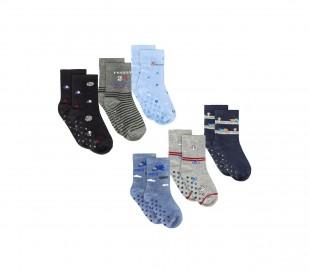 N623 Pack 6 calcetines para niños mod. BABY BOY con antideslizantes talla 22/26