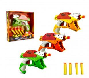 287996 Pistola de juguete SOFT BULLET GUN con 4 dardos juego de acción