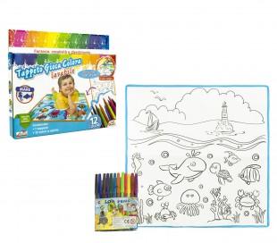 121767 Alfombra juega y colorea OCEANO lavable 50 x 50 cm con 12 rotuladores