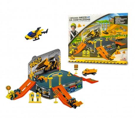 121837 Playset juego CANTIERE IN COSTRUZIONE con helicóptero y vehículos