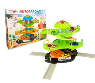 102303 Playset multinivel de estacionamiento automático helicóptero y ascensor