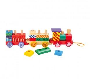 404248 Tren montable de madera para remolcar con formas entrelazadas