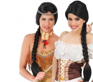 9c5bb1f21ccff 444253 Peluca para mujer BLACK BRAID ideal para Carnaval o fiestas de  disfraces