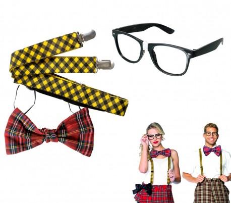 443058 Kit disfraz de carnaval NERD o fiestas temáticas 3 PZ unisex