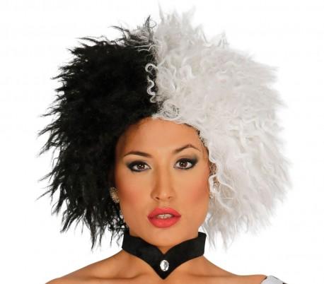 444267 Peluca para disfraces en dos tonos blanco y negro ideal para el Carnaval