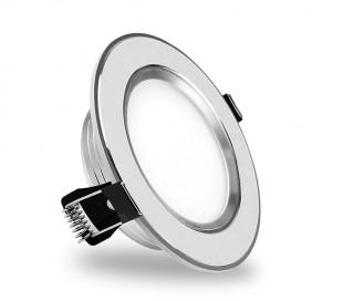 685631 Foco LED redondo y empotrable 9 Watt luz fría cromado y cristal mate