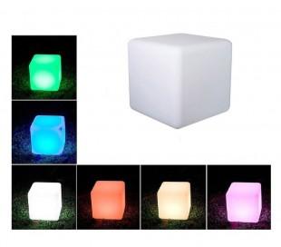 370582 Set 3 cubos LED Multicolor cromoterapia luz para ambiente nocturna 6.5 cm