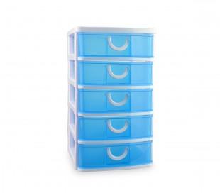 391570 Cajón con 5 pisos de plástico rígido COLORBOX de colores 15x19x26 cm