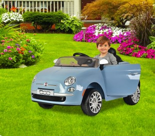 B90106 Coche eléctrico para niños FIAT 500 cabrio asiento cuero 12V Teledirigido