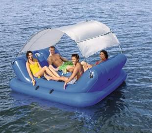 43134 Isla flotante inflable 272x196 cm BESTWAY Coolerz 4 asientos y sombrilla