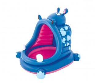 52218 Piscina hipopótamo BESTWAY con fondo inflable y parasol de 112x99x97 cm