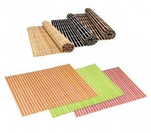 137697 Conjunto de 4 manteles de bambú en diferentes colores 30x40 cm