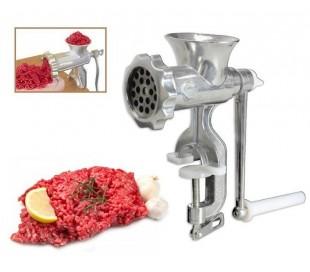 Picadora de carne con pinza de sujeción y manivela manual